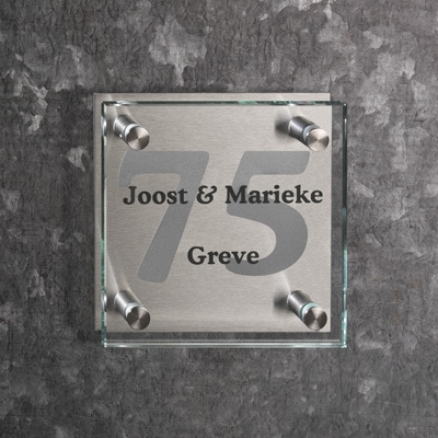 Glazen naambord artnr.gmag4