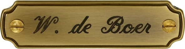 Messing naambord (bronskleurig)