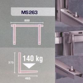 roestvrij stalen Wandconsole MS263, 465x375x800mm Draagvermogen 140 Kg.
