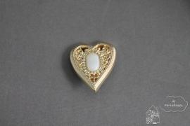 Knoop hart goud/wit