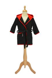 Kinderbadjas met capuchon Zwart - Rood