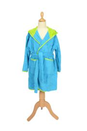 Kinderbadjas met capuchon Zeeblauw - Lichtgroen