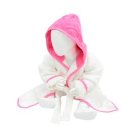Babybadjas met capuchon Wit - Roze