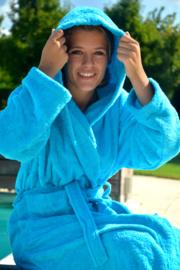 Zeeblauwe badjas met capuchon