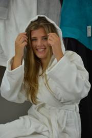 Witte velours badjas met capuchon