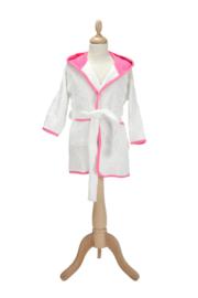 Kinderbadjas met capuchon Wit - Roze