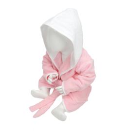 Babybadjas met capuchon Lichtroze - Wit