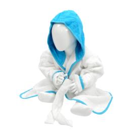 Babybadjas met capuchon Wit - Zeeblauw