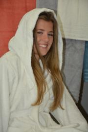 Organische witte badjas met capuchon