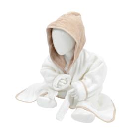Babybadjas met capuchon Wit - Zandkleurig