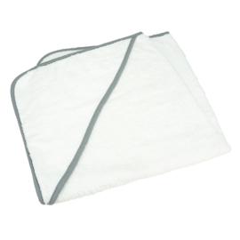 Babycape Wit met Grijze rand 75 x 75 cm