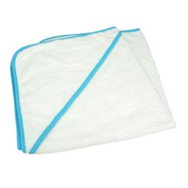 Babycape Wit met Zeeblauwe rand 75 x 75 cm