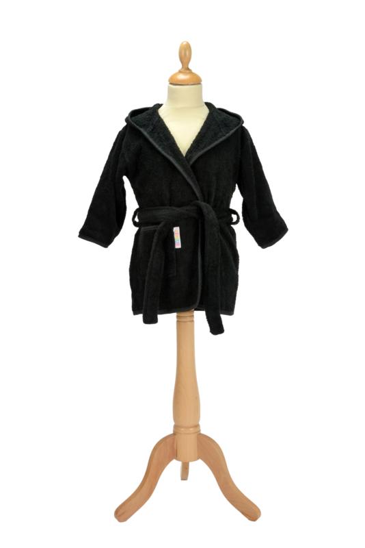 Kinderbadjas met capuchon Zwart