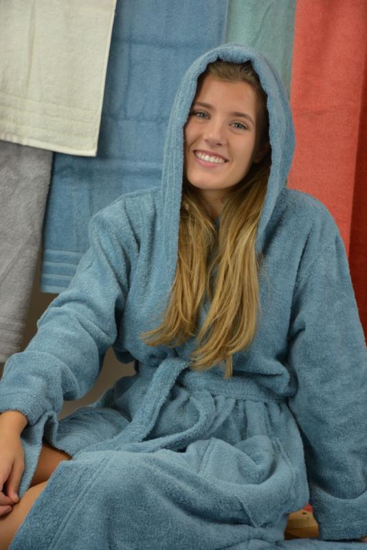 Organische jeansblauwe badjas met capuchon