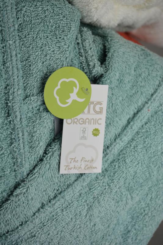 Organische mintgroene badjas met capuchon