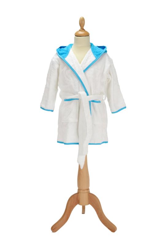 Kinderbadjas met capuchon Wit - Zeeblauw