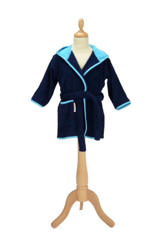 Kinderbadjas met capuchon Marineblauw - Rood
