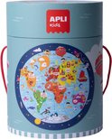APLI Kids vloerpuzzel rond Wereldkaart
