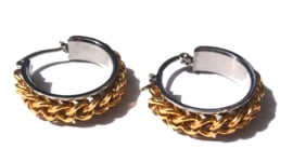 Chain Gold & Silver Hoop Earrings