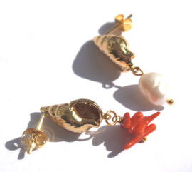 Shell Coral & Pearl Earstuds