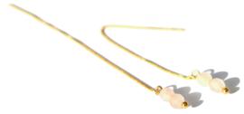 Rose Quartz Sterling Golden Threader Earrings
