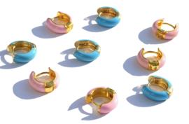 Colorful Enamel Hoop Earrings