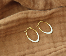 Creamy Golden Hoop Earrings