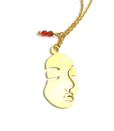 Abstract Golden Face Necklace