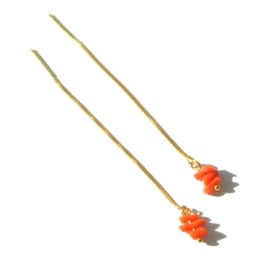 Coral Sterling Threader Earrings