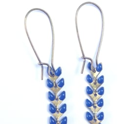 Enamel & Beads Long Earrings