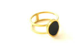 Ovale Black & Double Gold Ring