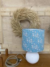 Liberty Aqua Flower & Ceramic White Lamp