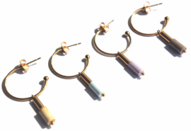 Pastel Agate & Tube Golden Hoop Earrings