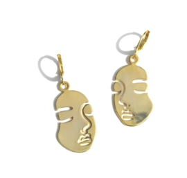 Abstract Golden Face Earrings