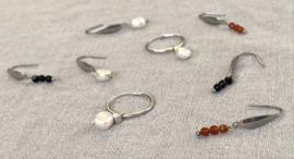Silver & Beads Long Earrings
