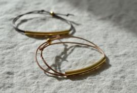 Leather & Tube Golden Bracelet