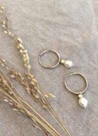 Pearl & Cube Sterling Silver Hoop Earrings