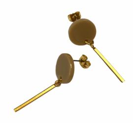 Circle & Bar Golden Earrings