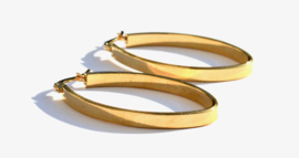 Flat Golden Hoop Earrings