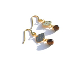 Leave & Tiger Stone Golden Earrings