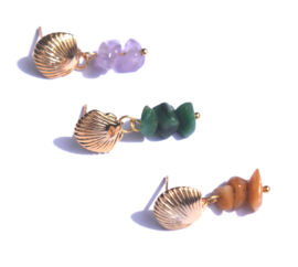 Shell & Gemstone Golden Earstuds