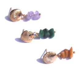 Shell & Gemstone Golden Earstuds