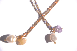 Pearl & Stone Enamel Chain Necklace