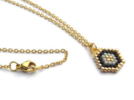 Woven Beads Golden Necklace