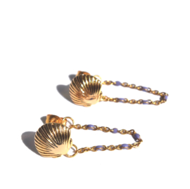 Shell & Enamel Chain Earrings