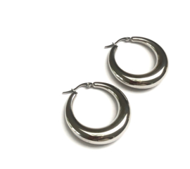 Big Moon Silver Hoop Earrings