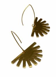 Sun Fan Golden Earrings