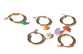 Rainbow Earring Gold Hoops