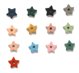 Ceramic Star Golden Earstuds