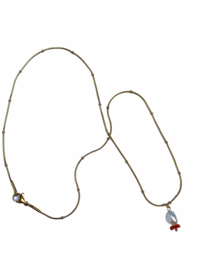Pearl & Coral Ball-Chain Necklace